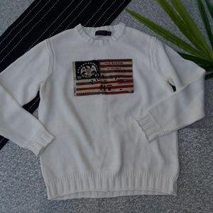 {Polo Ralph Lauren} White American Flag Sweater L